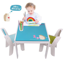 Load image into Gallery viewer, Featured labebe wooden activity table chair set blue hedgehog toddler table for 1 5 years baby table toy table baby room table learning table cover kid bedroom furniture child furniture set kid desk chair