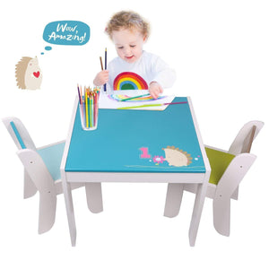 Featured labebe wooden activity table chair set blue hedgehog toddler table for 1 5 years baby table toy table baby room table learning table cover kid bedroom furniture child furniture set kid desk chair