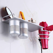 Load image into Gallery viewer, Discover the mylifeunit wall mount hair dryer hanging rack organizer aluminum hair dryer holder with 2 cups