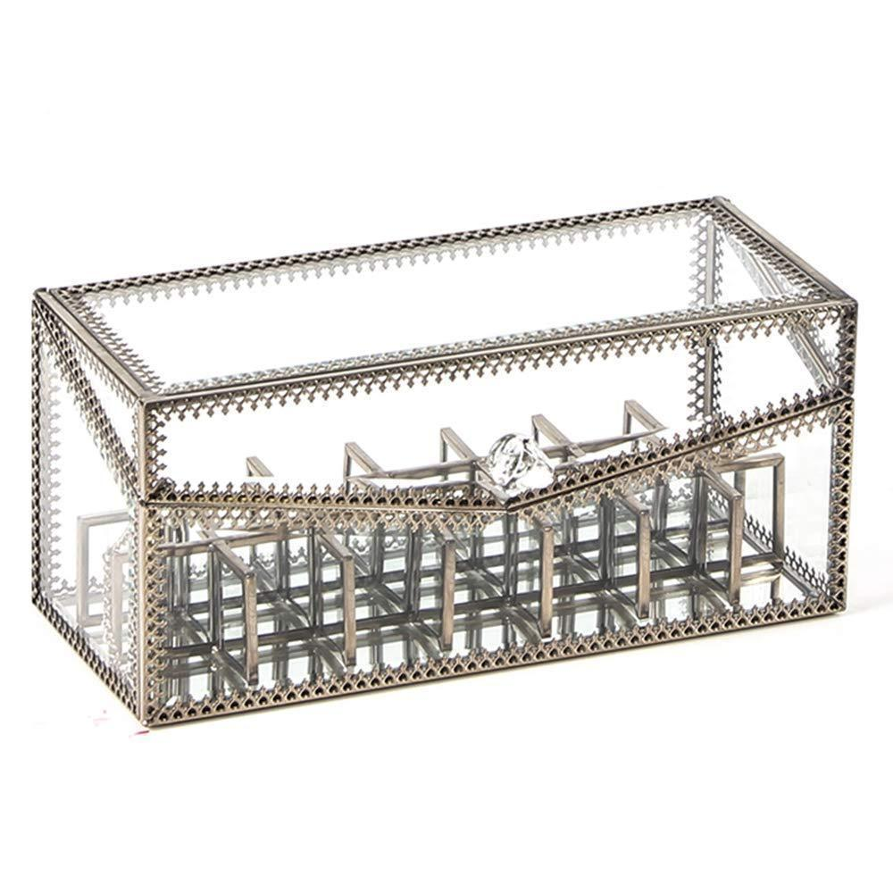 J&C Antique Large 4 Tier Clear Glass with Brass Metal Cosmetic Makeup Storage Cube Organizer with 6 Drawers. Each of Which Can be Used Individually - By JC (TRAPEZIOD)