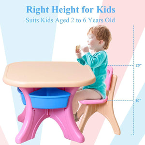 Kitchen costzon kids table and 2 chair set children activity art table set w detachable storage bins strong bearing capacity lightweight kiddie sized plastic furniture