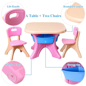 New costzon kids table and 2 chair set children activity art table set w detachable storage bins strong bearing capacity lightweight kiddie sized plastic furniture