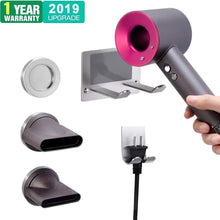Load image into Gallery viewer, Discover the xigoo hair dryer holder self adhesive dyson hair dryer wall mount holder compatible dyson supersonic hair dryer brushed 304 stainless steel power plug diffuser and nozzles organizer