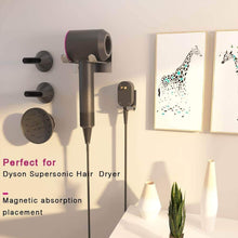 Load image into Gallery viewer, Great xigoo hair dryer holder self adhesive dyson hair dryer wall mount holder compatible dyson supersonic hair dryer brushed 304 stainless steel power plug diffuser and nozzles organizer