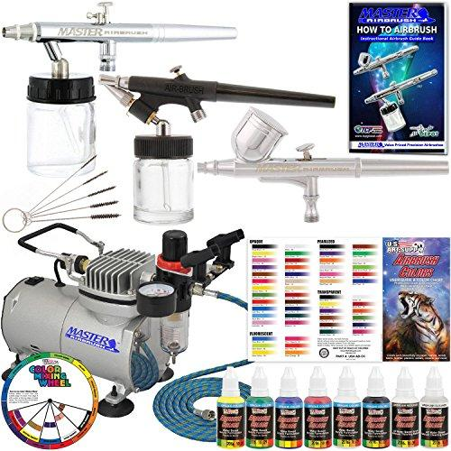 3 Airbrush Professional Master Airbrush Airbrushing System Kit with 6 U.S. Art Supply Primary