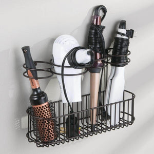 On amazon mdesign metal wire cabinet wall mount hair care styling tool organizer bathroom storage basket for hair dryer flat iron curling wand hair straightener brushes holds hot tools bronze