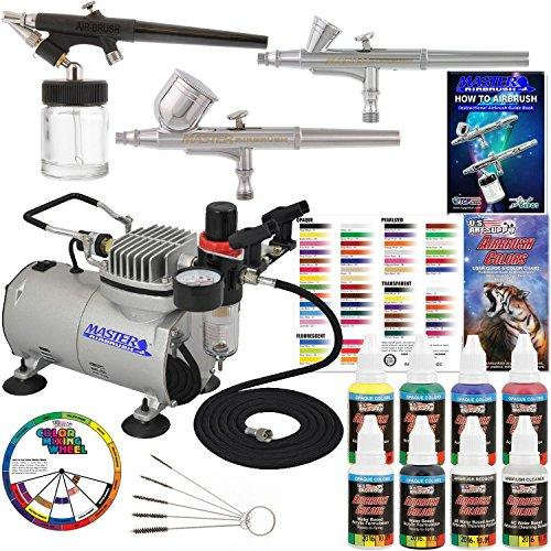 3 Airbrush Professional Master Airbrush Multi-Purpose Airbrushing System Kit with 6 Primary