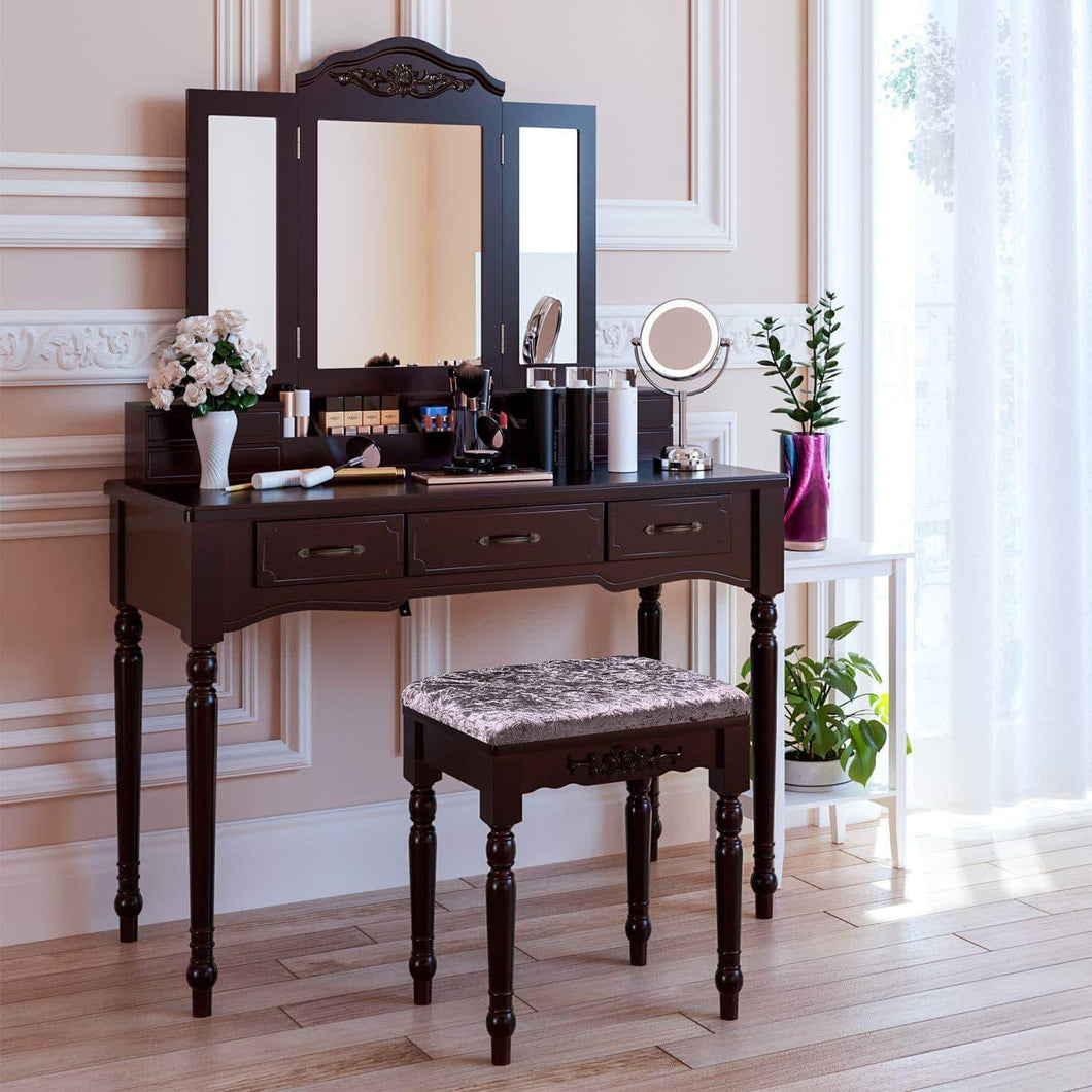 HOMECHO Vanity Table Set with 7 Drawers and 6 Makeup Organizers, Removable Tri-Folding Mirror and 8 Necklace Hooks with Cushioned Stool Dark Espresso, HMC-MD-010