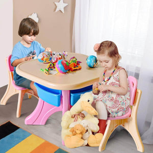 Home costzon kids table and 2 chair set children activity art table set w detachable storage bins strong bearing capacity lightweight kiddie sized plastic furniture