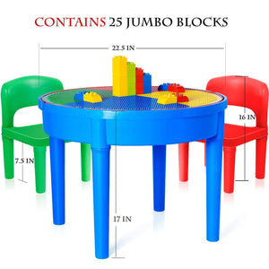 Products kids activity table 4 in1 water table play table building blocks table and storage for toddler kids boys grils includes 1 table 2 chairs and 25 jumbo bricks