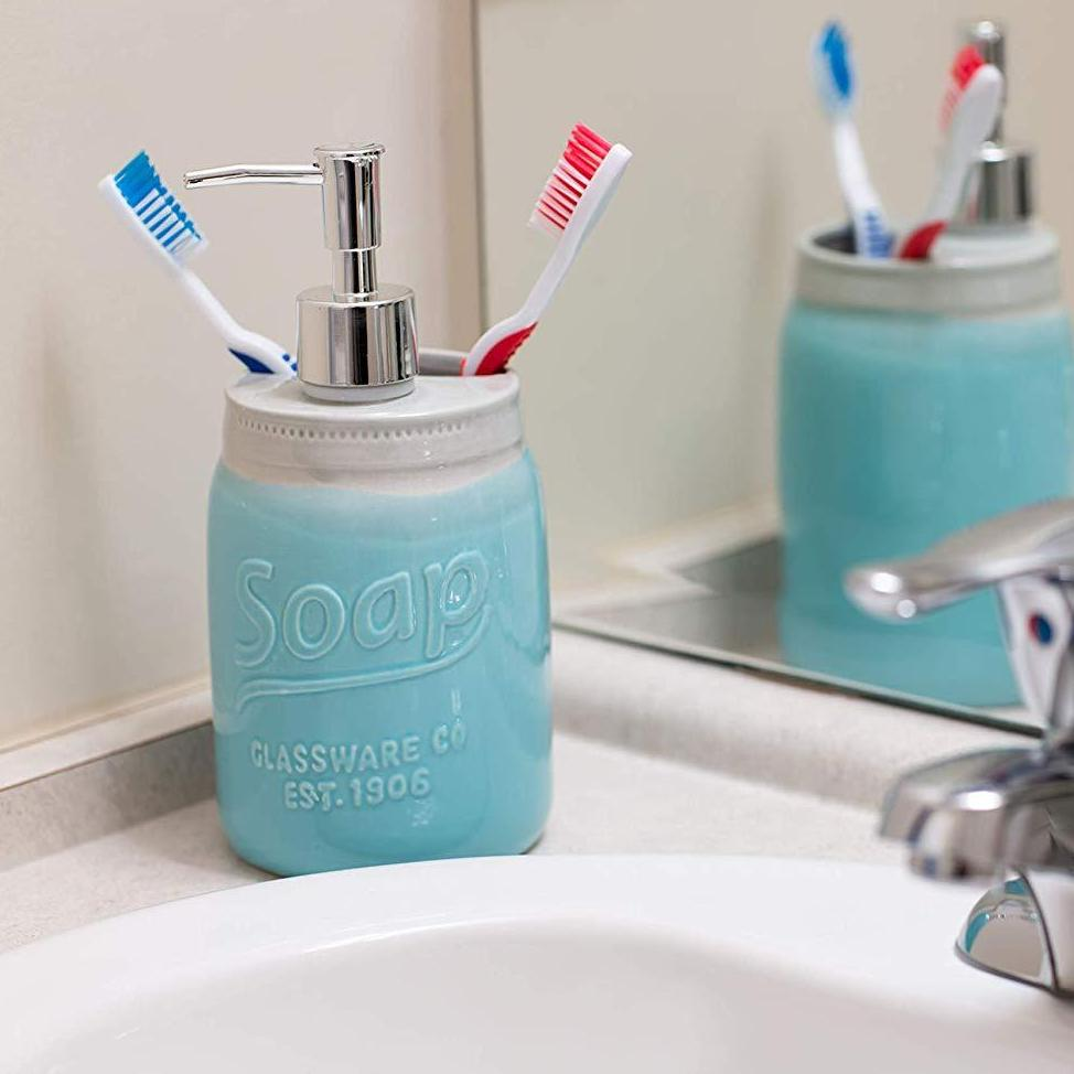 Comfify Mason Jar Design Soap Dispenser & Toothbrush Holder