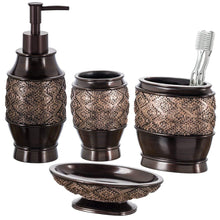 Load image into Gallery viewer, Creative Scents Dublin 4-Piece Bathroom Accessories Set, Includes Decorative Countertop Soap Dispenser, Dish, Tumbler, Toothbrush Holder, Resin Vanity Ensemble Set, Gift Boxed (Brown)
