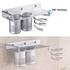 Organize with wall mount hair dryer holder multifunctional bathroom organizer collection storage rack spiral hair care tools hanging rack toothbrush storage