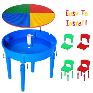 Purchase kids activity table 4 in1 water table play table building blocks table and storage for toddler kids boys grils includes 1 table 2 chairs and 25 jumbo bricks