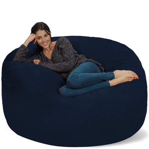 Top rated chill sack bean bag chair giant 5 memory foam furniture bean bag big sofa with soft micro fiber cover navy