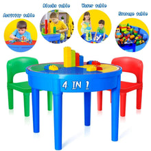 Load image into Gallery viewer, Organize with kids activity table 4 in1 water table play table building blocks table and storage for toddler kids boys grils includes 1 table 2 chairs and 25 jumbo bricks