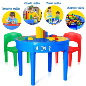 Organize with kids activity table 4 in1 water table play table building blocks table and storage for toddler kids boys grils includes 1 table 2 chairs and 25 jumbo bricks