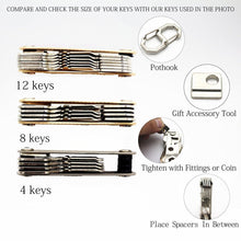 Load image into Gallery viewer, Exclusive smart compact key holder keychain with built in tools bottle opener phone stand gold frame plus anti loosening washer great presenthair comb