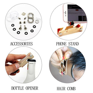 Featured smart compact key holder keychain with built in tools bottle opener phone stand gold frame plus anti loosening washer great presenthair comb
