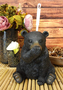 "Ebros 14.5"" Tall Whimsical Funny Forest Mountain Black Bear Covering Nose Toilet Brush Scrub and Base Holder Bathroom Gift 2 Piece Set Statue Rustic Cabin Lodge Bears Decor Accent Figurine"