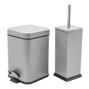 Harbour Housewares Square Steel Bathroom Pedal Bin & Toilet Brush Set - Grey