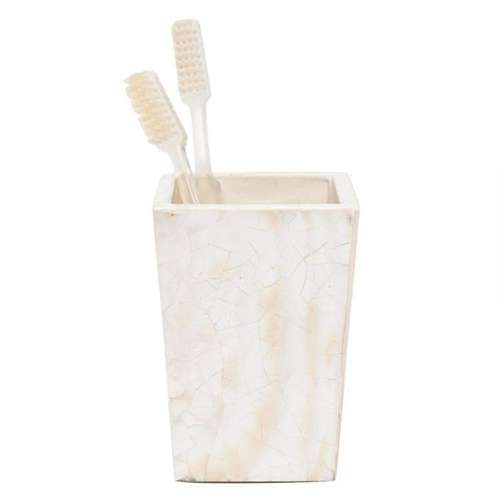Lugano Pearl White Shell Brush Holder