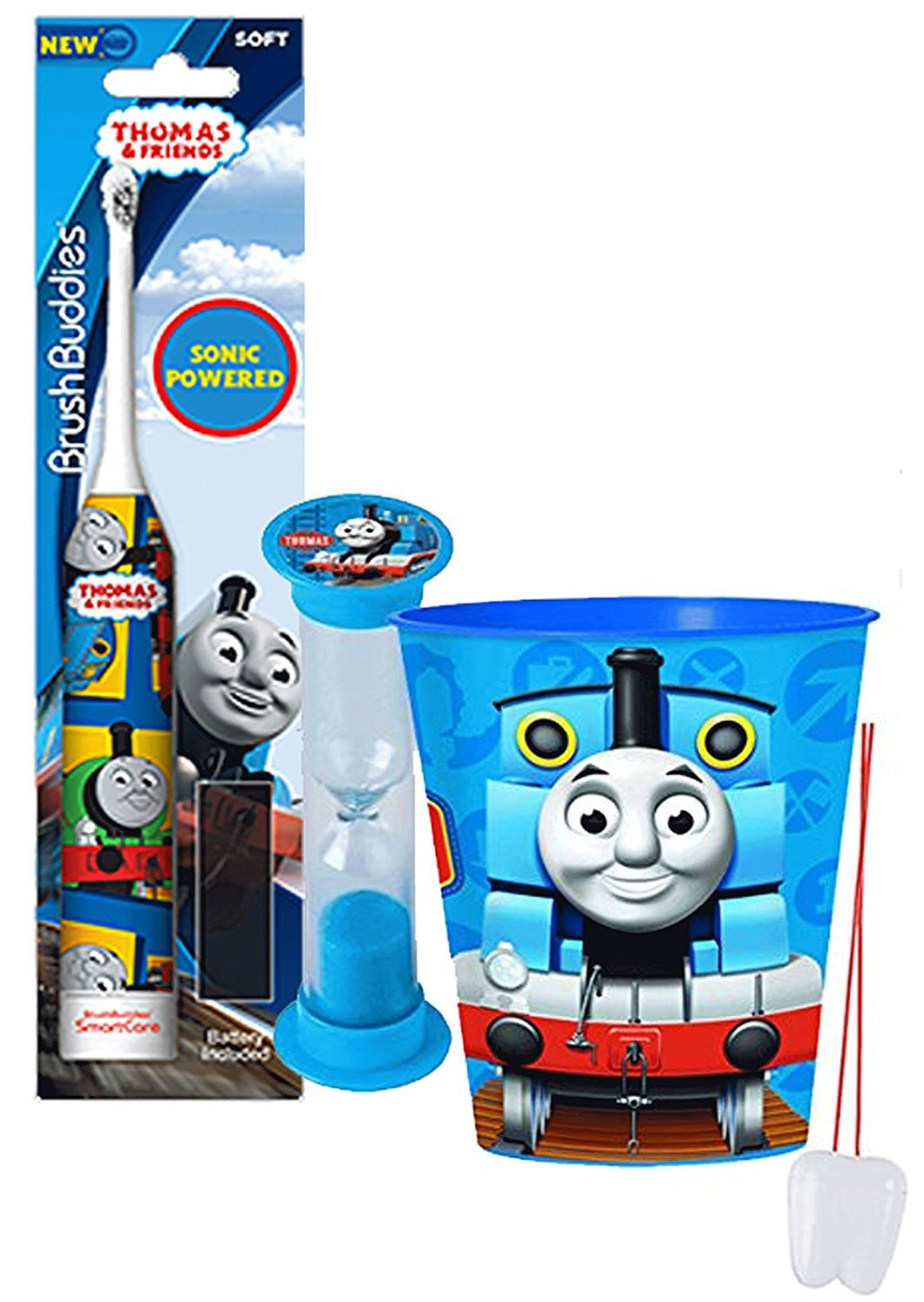 """Thomas the Train"" Inspired 3pc Bright Smile Oral Hygiene Set! Thomas and Friends Turbo Powered Spin Toothbrush, Brushing Timer and Mouthwash Rinse Cup! Plus Bonus ""Remember To Brush"" Visual Aid!"