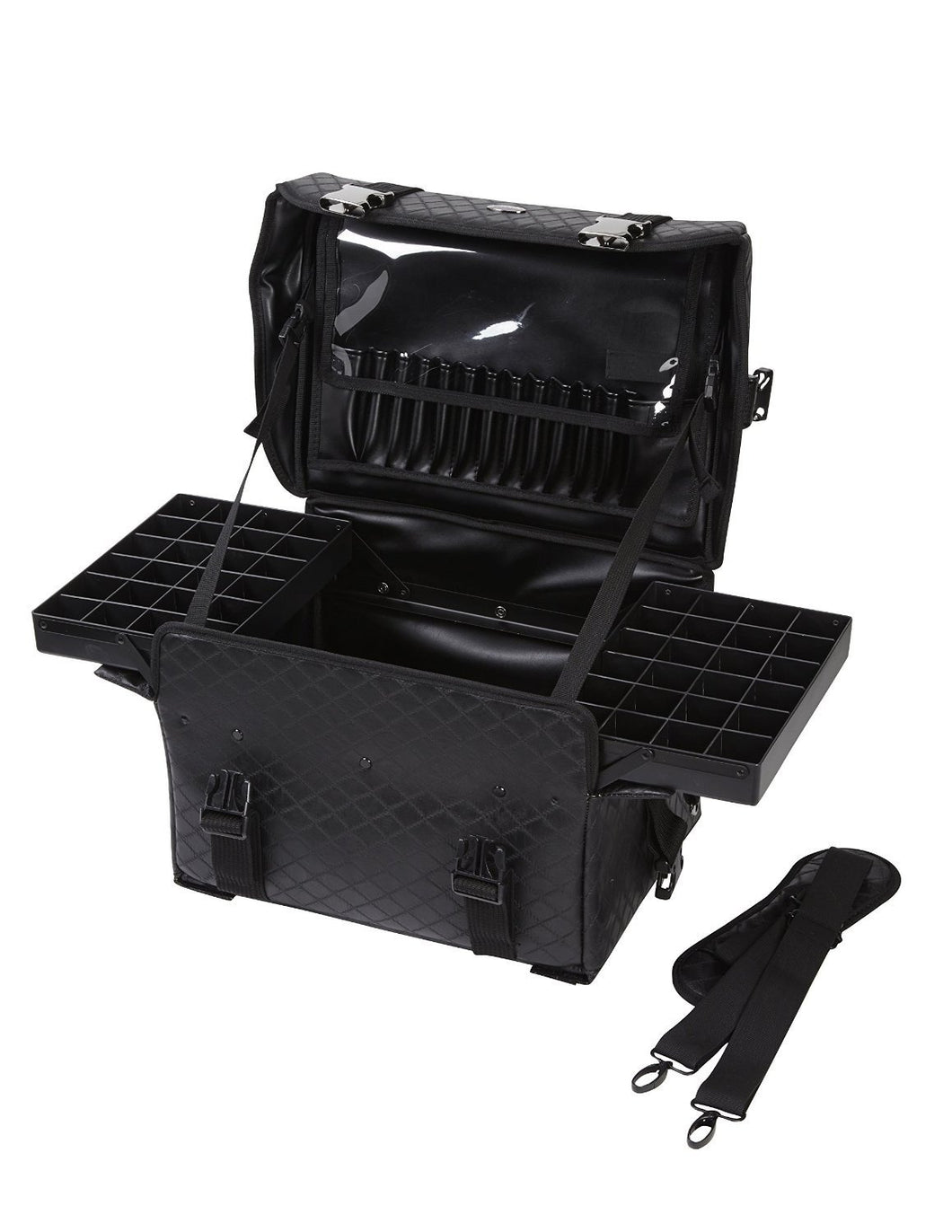 Soft Sided Makeup Artist Organizer Case Carry-On w/ Travel Brush Holder