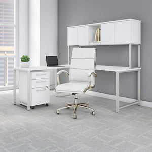 Buy now bush business furniture 400 series 72w x 30d l shaped desk with hutch mobile file cabinet and high back office chair in white