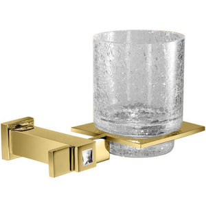 Moonlight Wall Mounted Crackled Glass Toothbrush Holder w/ Swarovski Crystal - Gold