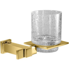 Load image into Gallery viewer, Plain Lisa Wall Crackled Glass Toothbrush & Toothpaste Holder - Gold/ Chrome