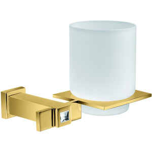 Moonlight Wall Frozen Glass Toothbrush Holder w/ Swarovski - Gold