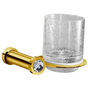 Moonlight Wall Crackled Glass Toothbrush Holder W/ Swarovski - Chrome/ Gold