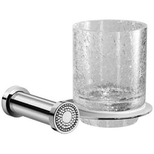 Load image into Gallery viewer, Shinelight Wall Crackled Glass Toothbrush holder W/ Swarovski - Chrome/ Gold