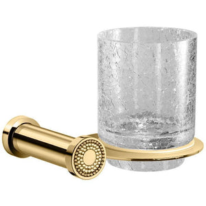 Shinelight Wall Crackled Glass Toothbrush holder W/ Swarovski - Chrome/ Gold