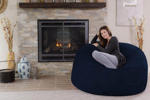Try chill sack bean bag chair giant 5 memory foam furniture bean bag big sofa with soft micro fiber cover navy