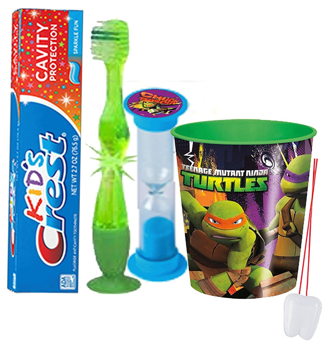 """Teenage Mutant Ninja Turtles"" Inspired 4pc Bright Smile Oral Hygiene Set! Flashing Lights Toothbrush, Toothpaste, Brushing Timer and Mouthwash Rinse Cup! Plus Bonus ""Remember To Brush"" Visual Aid!"