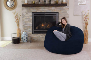 Amazon chill sack bean bag chair giant 5 memory foam furniture bean bag big sofa with soft micro fiber cover navy