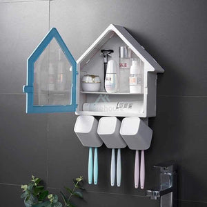 Multi-Function Wash Cup Rack Bathroom Storage No-Punching Wall-Mounted Toothbrush Holder