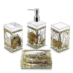 Bathroom Set Dispenser Soap 4 Piece Brush Toothbrush Holder Accessories Vintage Floral (Silver)