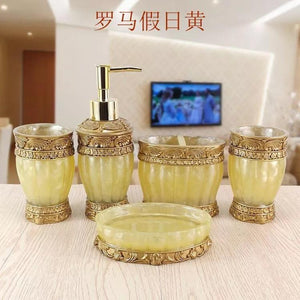 Beautiful butterfly floral 5PCS Resin Bathroom Accessories Set Soap Dispenser Toothbrush Holder Tumbler Soap  LO1127636
