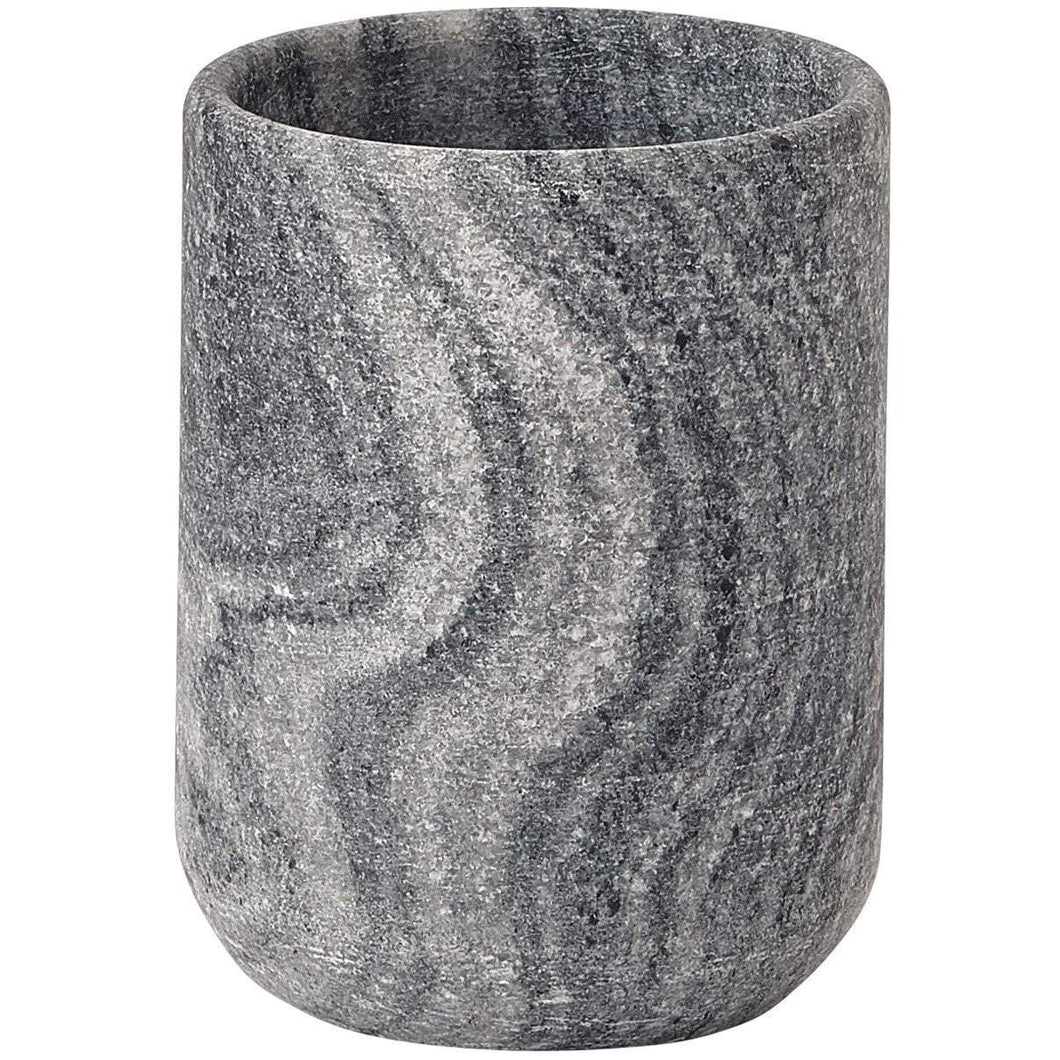 Flint Round Marble Bathroom Toothbrush Holder Standing Toothpaste Tumbler