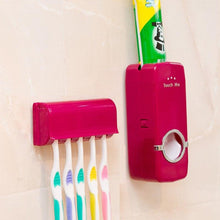 Load image into Gallery viewer, 1 Set Tooth Brush Holder Automatic Toothpaste Dispenser + 5 Toothbrush Holder Toothbrush Wall Mount Stand Bathroom Tools