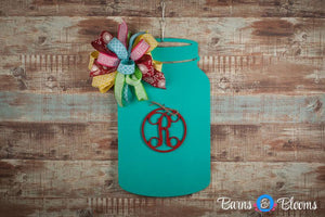 Mason Jar Monogram Door Hanger in Teal with Bow