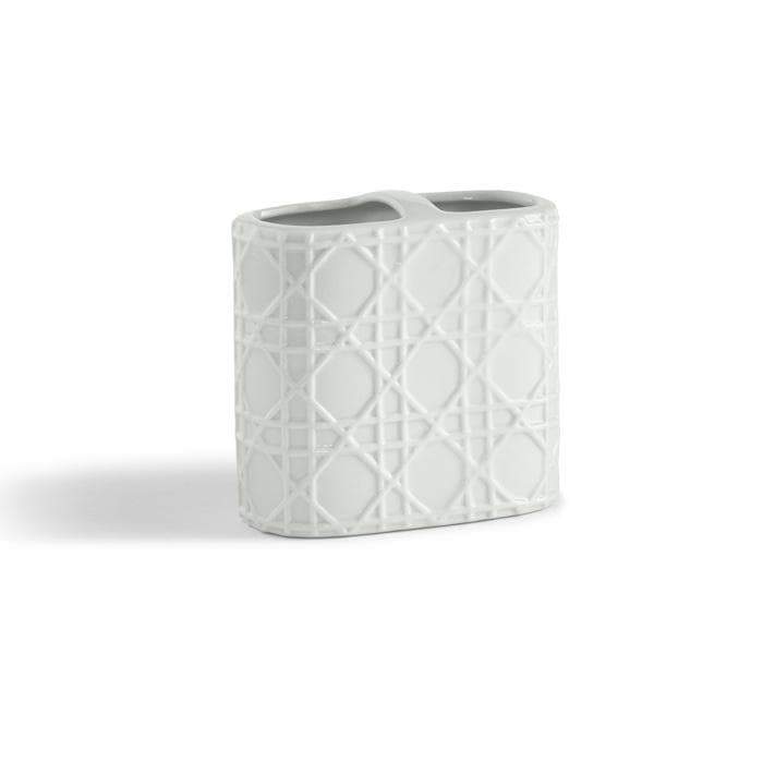 Rattan Porcelain Toothbrush Holder