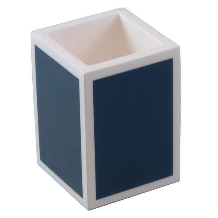 Navy Blue with White Lacquer Brush Holder