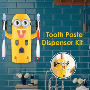 Minion ToothPaste Dispenser with Brush Holder - Yellow