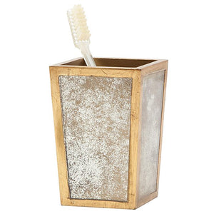 Atwater Antiqued Mirror Brush Holder (Antique Gold)