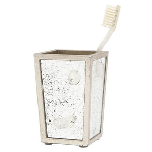 Atwater Antiqued Mirror Brush Holder (Silver Leaf)