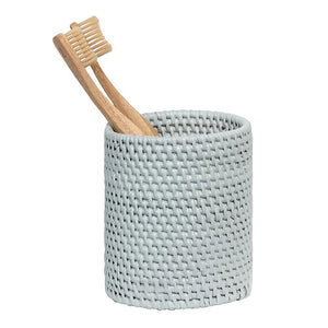 Dalton Light Gray Rattan Brush Holder